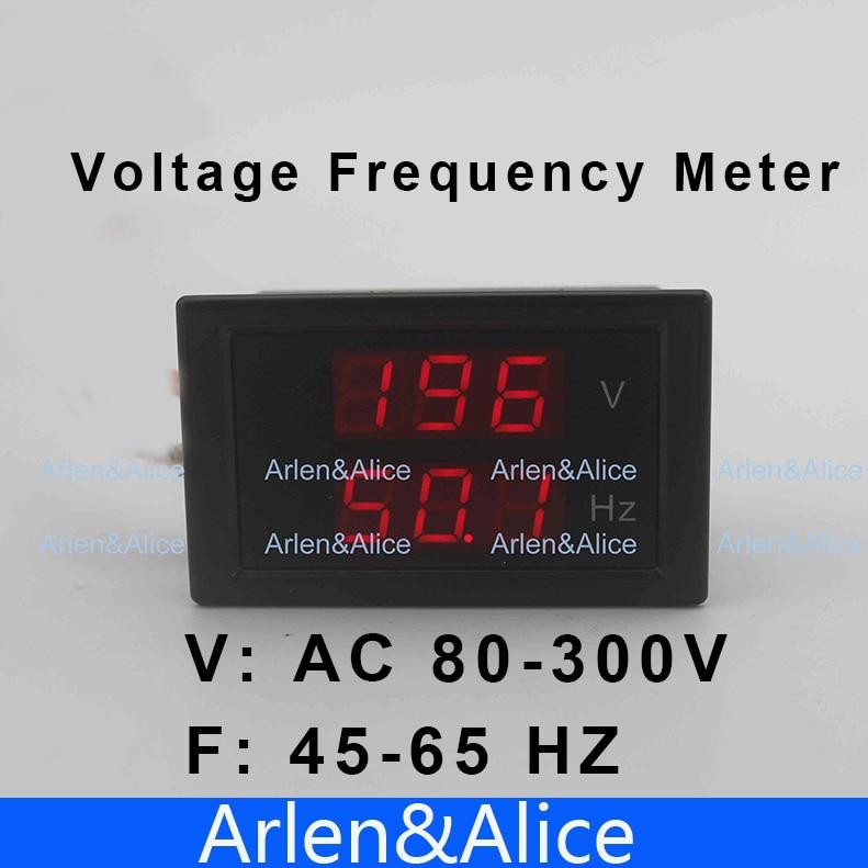 Светодиод двойной дисплей Напряжение частота вольтметр Диапазон AC 80-300 В 45.0-65.0 Гц Панель Мониторы