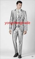 2015 Новый стильный свадебный костюм из трех предметов серебряного цвета из шелковой шантунг, изготовленный на заказ смокинг MS0385