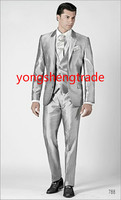 2014 New Style Three Piece Silver Monochrome Wedding Suit In Silk Shantung Fabric Custom Made Tuxedo
