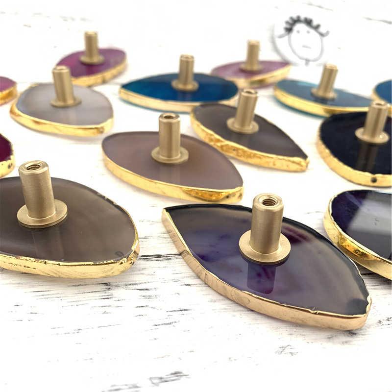 LCH Nordic Stil Luxuriöse Natürliche Achat Schrank karneol Knob Schublade Ziehen Möbel Griffe Messing Kristall Knopf Einfache leben