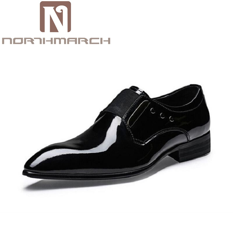 NORTHMARCH Genuine Leather Wedding Party Shoes Men Patent Leather Pointed Toe Dress Shoes Sapatos Masculino Men's Leather Shoes breathable big size flats prom monk strap wedding party genuine leather men pointed toe dress shoes solid red fashion autumn hot