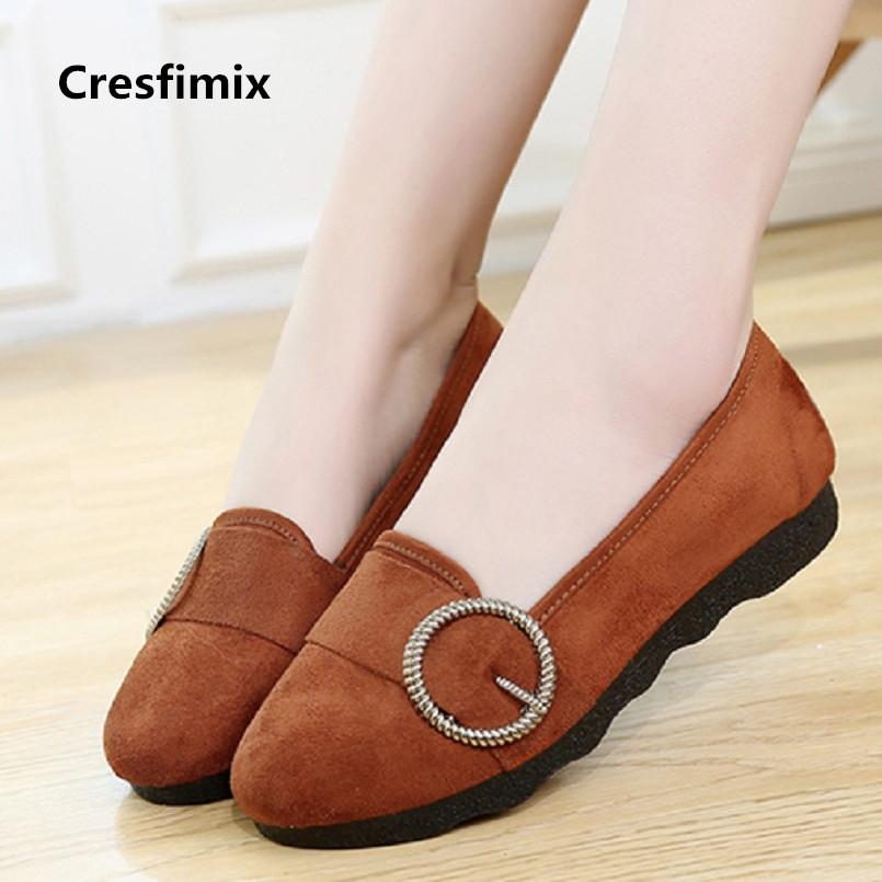 Cresfimix women fashion brown slip on flat loafers lady casual street outside flat shoes female spring summer dance shoes a2031 spring summer flock women flats shoes female round toe casual shoes lady slip on loafers shoes plus size 40 41 42 43 gh8
