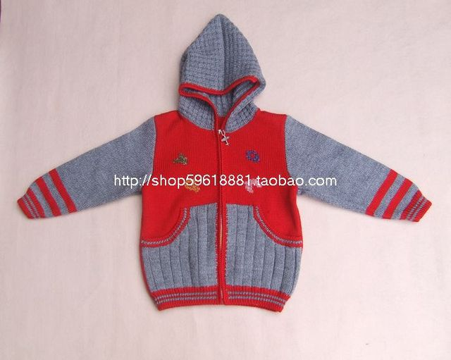 98e1c4710 Hand Knitted Baby Hoodie jacket Sweater Red Purple Boys And Girls ...
