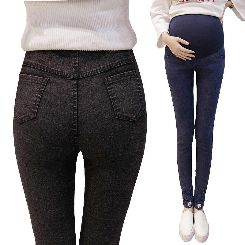 c14e470af59e14 Fashion Pregnancy Pants Clothes For Pregnant Women Denim Jeans Elastic  Waist Stretch Maternity Legging Clothing Gravida