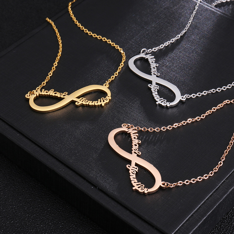 c9663c56159cc Stainless Steel Custom Name Necklace Personalized Rose Gold Silver Infinity  Pendant Couple Necklace Jewelry Best Friends Gift