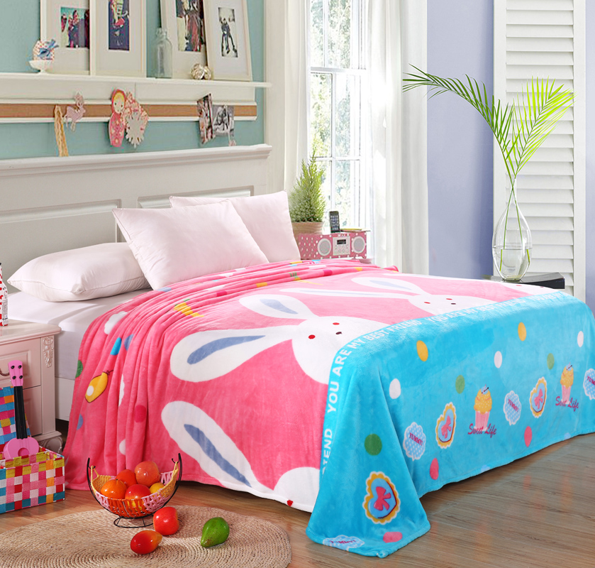 Cartoon Bunny Rabbit Printed Plush Fleece Blanket Flannel for Bed Sofa Couch Throw Child Girl Single Twin Full Queen Size Pink