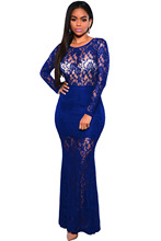 Night Club Cocktail Formal Autumn Party Blue Long Sleeves