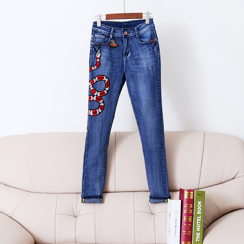 Luxury Brand Runway Jeans For Women 2018 Fashion Snakes And Bees