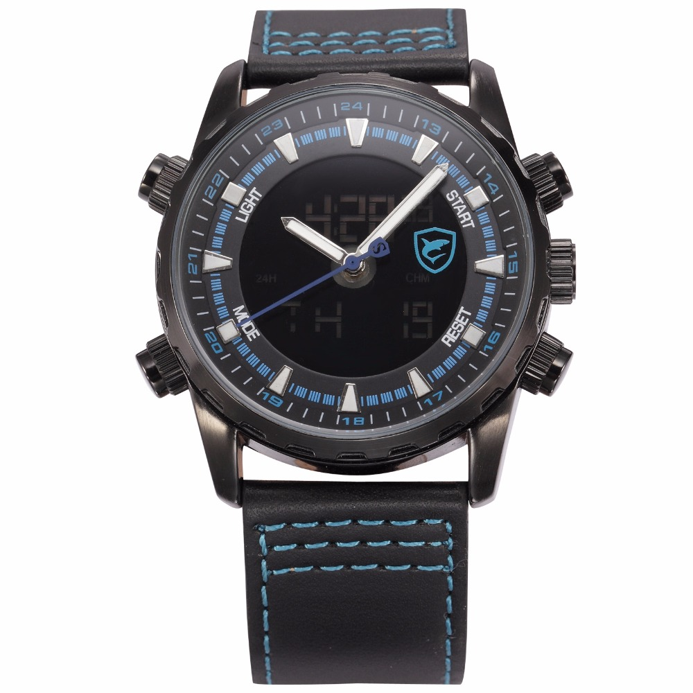 Shark Sport Watch Brand Blue Luminous Scale Dual Time LCD Display Leather Strap Digital Hours Men Military Quartz Clock / SH134 new shark sport watch men yellow luminous scale dual time lcd display black leather strap tag quartz digital wrist clock sh135
