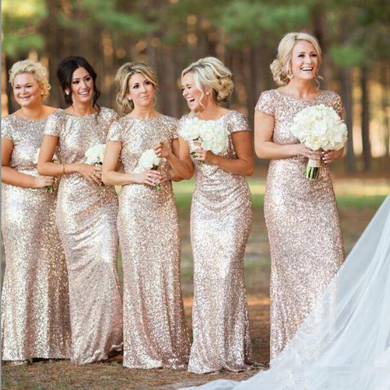 Sparkly Champagne Gold Sequins   Bridesmaid     Dresses   Plus Size Backless Long Wedding Party Guest Gowns Short Sleeves Custom Made