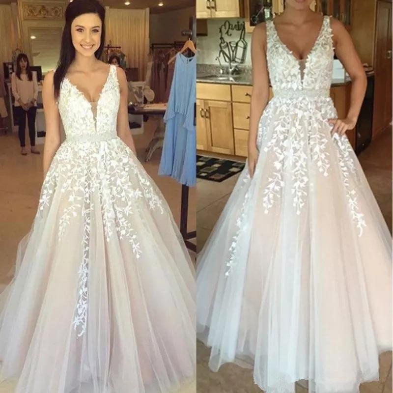Gothic Blush Pink V Neck White Lace Full Wedding Dresses 2019 Vestidos De  Novia Plus Size Beach Bridal Gowns wedding gown Cheap