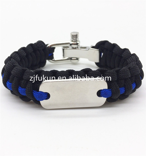 Outdoor Travel Camping Thin Blue Line Black Braided Weave Logo Custom  Available Metal Buckle Dog Tag Paracord Survival Bracelet 86d843bf061