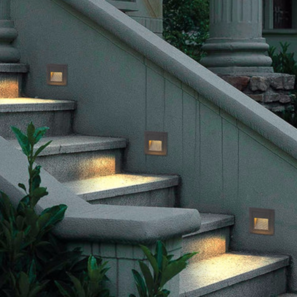 IN JUICY Modern LED Aisle Exterior Corner Step Lamp Aluminum Stair Light Waterproof Outdoor Glass Garden Foot Wall Light in Outdoor Wall Lamps from Lights Lighting