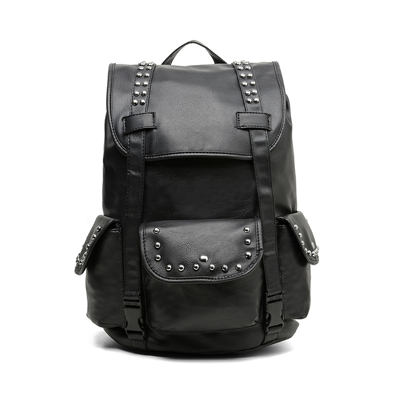 ФОТО Cool !!! Black Large capacity Travel Laptop Backpack mochila Men's Leather Backpack Schoolbag Popular Rivet Leather Backpack men
