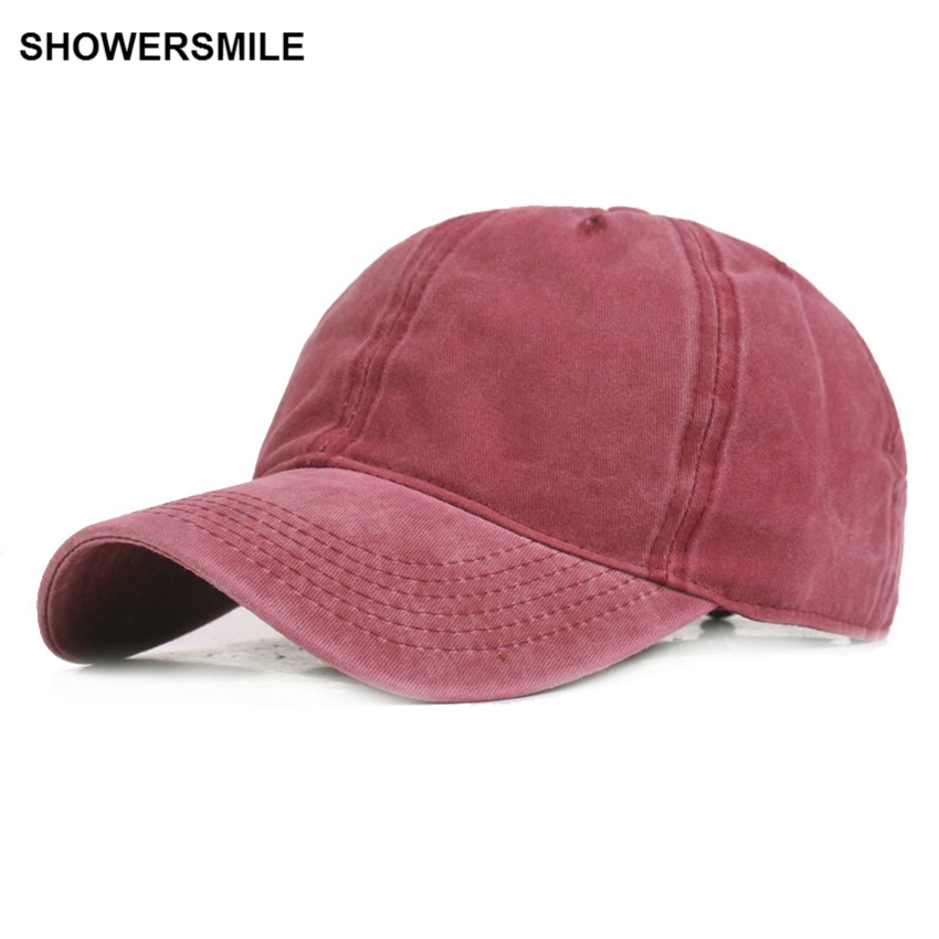 SHOWERSMILE Brand Red Baseball Caps For Women Adjustable Washed Cotton Duckbill Caps Casual Vintage Mens Autumn Hats And Caps men fish patern outdoor washed cotton baseball caps