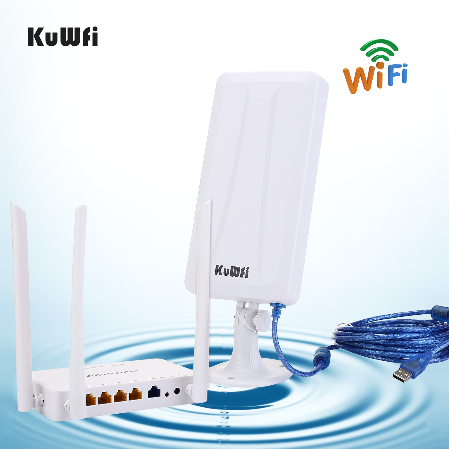 Image 5 - High power wireless Openwrt  Wireless router with 4pcs 7dbi antenna,high power wireless Adapter with 14dbi antenna&5M USB cable-in Wireless Routers from Computer & Office