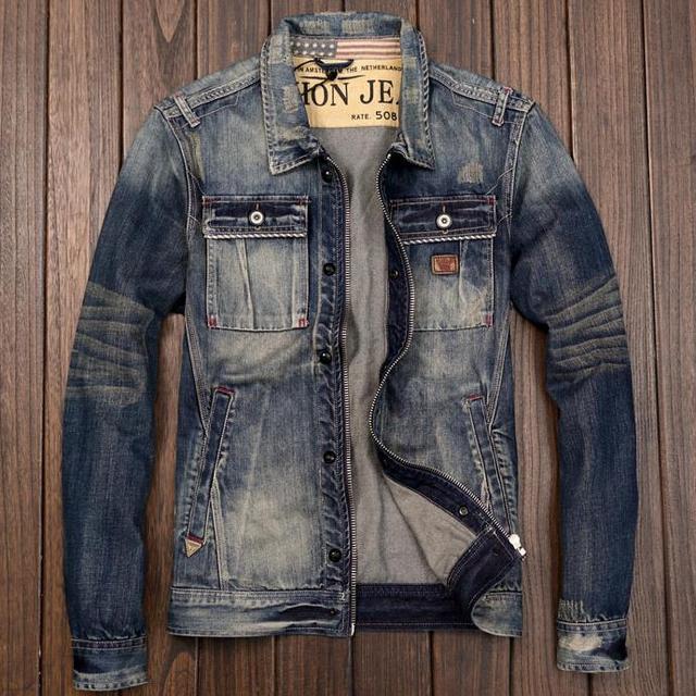 Biker Rétro Veste Denim Style Manteau Japonais Hommes Fit de Homme Jeans Jeune Zipper Slim Moto UnSIIt8q