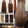 Frete Grátis Real Grosso 30 Polegada Um Clipe Peça Em Extensões de cabelo Natural Em Linha Reta Longa Sintética Mulher Lady Clip on peruca