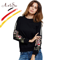 ArtSu Luxury Embroidery Hoodies Sweatshirts For Women Striped Long Sleeve Cotton Pullover Hoody Autumn Casual Moletom ASHO20155