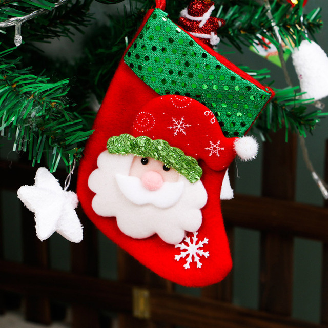 Wholesale New Christmas Tree Decorations Hang Candy Socks Xmas Stockings  For Kids Christmas Gift - Wholesale New Christmas Tree Decorations Hang Candy Socks Xmas