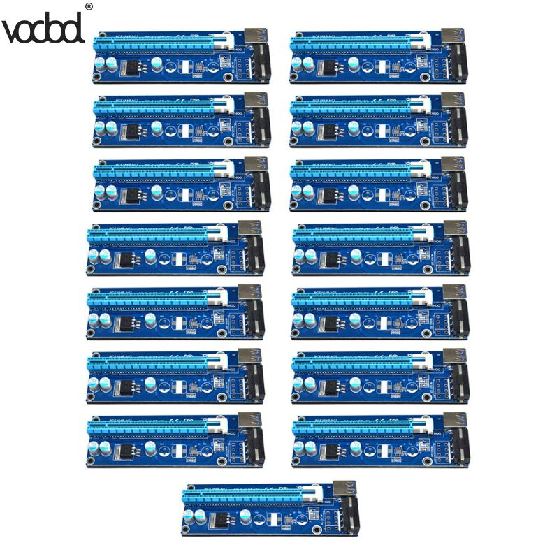 15pcs USB 3.0 PCI-E Riser Express 1x to 16x Extender Riser Adapter Card SATA 15pin Male to 4pin Power Cable For Btc Miner 50cm pci e pci e express 1x to 16x graphics card riser card usb 3 0 extender cable with power supply for bitcoin litecoin miner