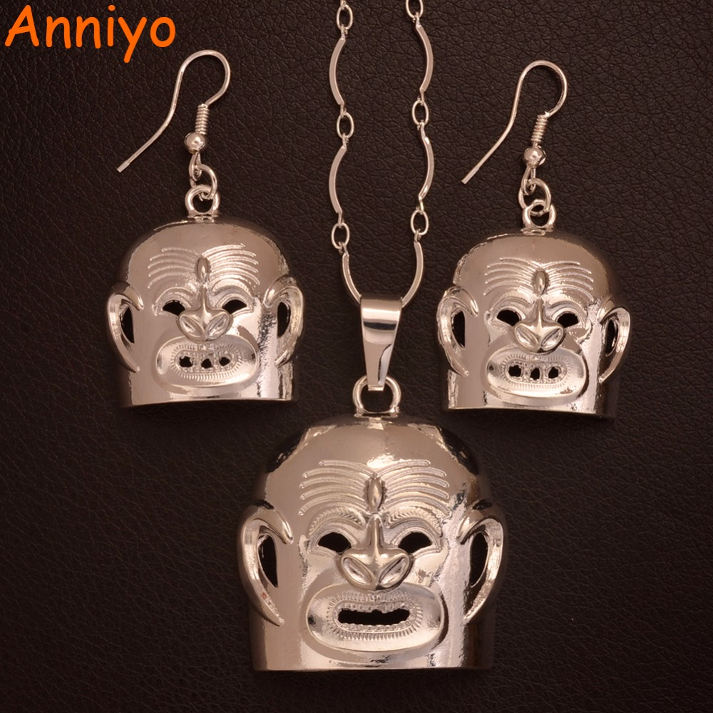 Anniyo (Two Models) BIG Earrings Silver Color Mask PNG Necklaces for Women,Papua New Guinea Asaro Mudmen Jewelry Gift #107106B