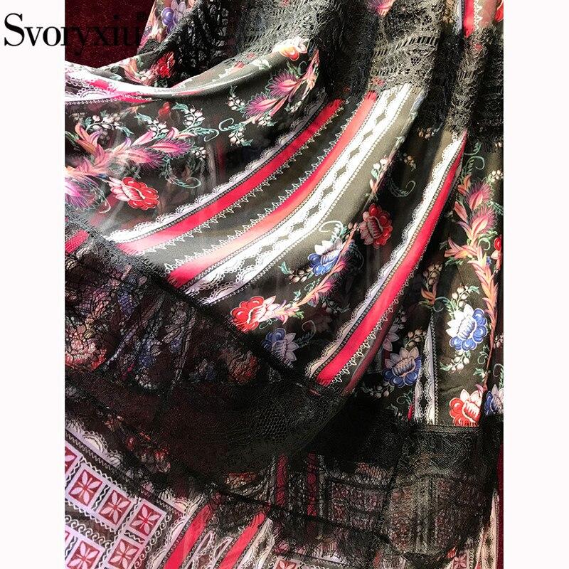 Imprimé Robes Créateur Femmes Longues 2019 Pour Svoryxiu Noir Multi Manches Folk Maxi Dentelle De Vacances Vintage Mode Robe Partie D'été ZxnvqB