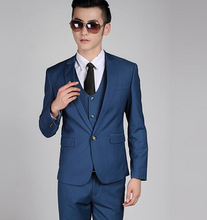 BOU new 2017 Men's pure color suits Cultivate one's morality and groom wedding dress Fashionable man two-piece suit