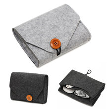 Home Storage Organization 1 Pcs Key Coin Package Mini Felt Pouch Earphone SD Card Power Bank Data Cable Travel Organizer(China)
