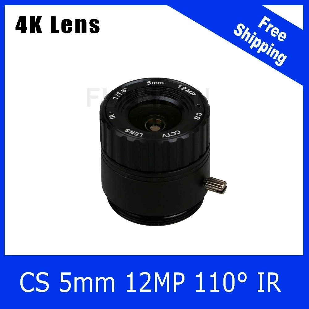 4K Lens 12Megapixel Fixed CS Lens 5mm 110 Degree 1/1.8 inch For 4K IP CCTV Box Camera  Free Shipping qhy5p ii c 5 0 megapixels 1 2 5 inch cmos camera with free a 8mm cctv lens