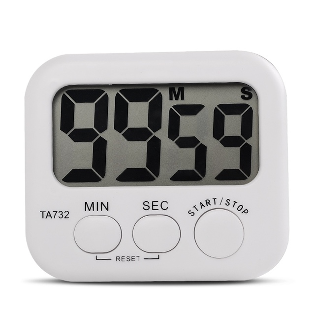 US $1 6 |White Mini Electronic Large LCD Digital Kitchen Timer Clock  Countdown Count Time Loud Alarm Home Oven Cooking Tools Accessories-in  Timers