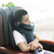 U-miss Q Shape Inflatable Pillow Neck Air Flight Decompression Office Travel Outdoor Pillow Support Headrest 73X33CM