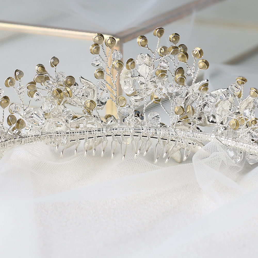 Image 3 - ASNORA Bridal Headbands with Combs Wedding Hair Accessories Headdress for Brides Metal Leaf with Crystals Beads Women Hair Bands-in Hair Jewelry from Jewelry & Accessories