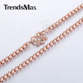Trendsmax 2mm 62.9cm Mens Womens Chain Round Box Link Necklace Rose Gold Filled Necklace High Quality Jewelry Gift GN227