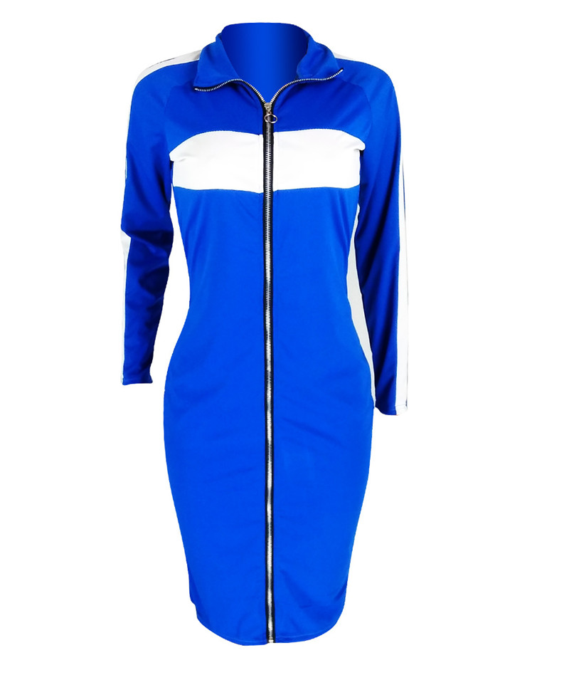 Women Long Sleeve Casual Dresses Streetwear Turn Down Collar Full Front Zipper Dress Contrast Black Knee Length Bodycon Dress in Dresses from Women 39 s Clothing