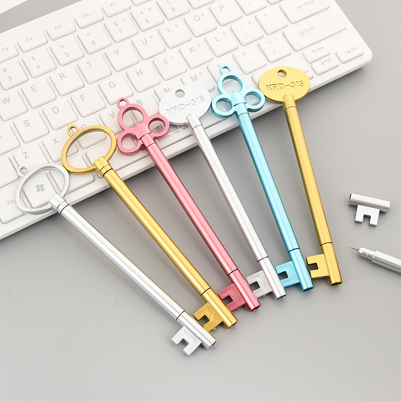 Mohamm 6pcs/lot 0.38mm Black Ink Cute Key Golden Gel Ink Pen Office School Stationery Supplies Kwaii Items cute 6pcs lot adult