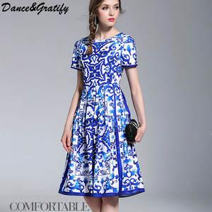 74c375bb53 Dance&Gratify 2018 Summer Women Vintage Party Midi Dress