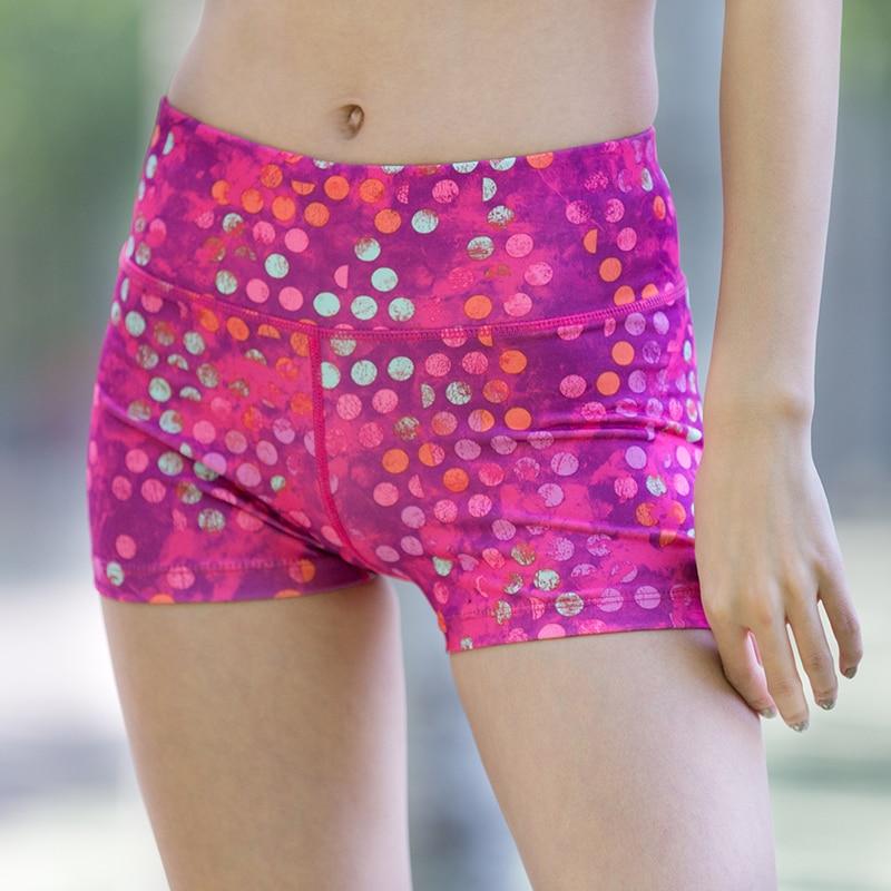 U Women s Vibrant Colors Compression Fit Running Tight Shorts Wide Waist Key Pocket Elastic Skins