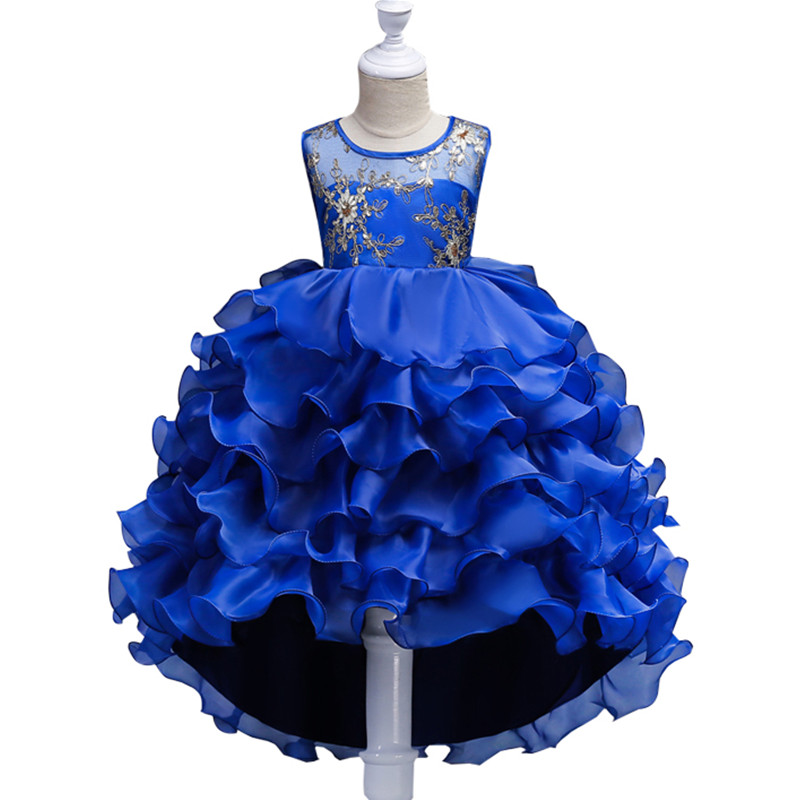 Kids Clothes Girls Flower Dress Children Girl Embroidery Party Dress Baby Princess Sequined Swallowtail Wedding dress girl dress kids clothes 2016 wl original lemon flower print a line baby girl dress children cotton princess dress girls costumes