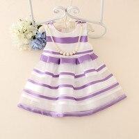 Çocuklar için Yaz Elbiseler Kız Bebek Mor Stripes Elbiseler Çocuk Casual Günlük Elbise Prenses Parti ve Düğün Tutu Elbiseler 1-7Y