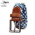 [Dwts] cinturones cummerbunds mujer 3.5 cm ancho elástico stretch lienzo cinturón de hebilla de cinturón de cuero trenzado de jóvenes estudiantes