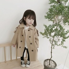MILANCEl Jackets for Girls Fashion Kids Girl Jacket Double Breast Windbreaker for Girl Children Jacket Girl Trench Coat cheap Solid European and American Style Long COTTON Turn-down Collar Outerwear Coats Full Fits true to size take your normal size