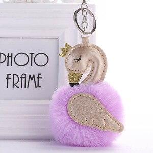 Милый розовый брелок с помпоном фламинго, женский брелок с кроличьим мехом и лебедем, автомобильный держатель для ключей, сумка, подвеска, лучший друг, аксессуары, подарок