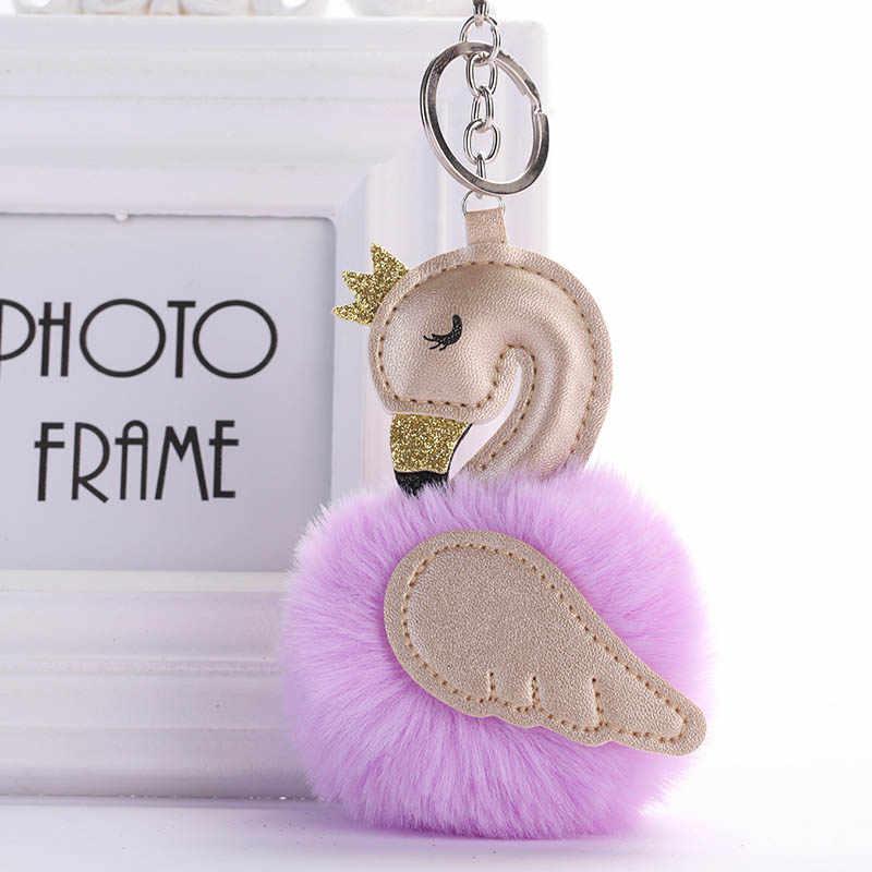 Bonito rosa flamingo chaveiro feminino pele de coelho pompons swan porta-chaves do carro titular saco charme pingente acessórios festa presente