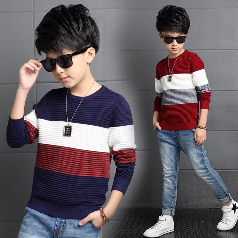 Kids Sweater Boys Sweaters tee Clothes O Neck long Sleeves stripes woolen sweater Autumn Winter Fashion