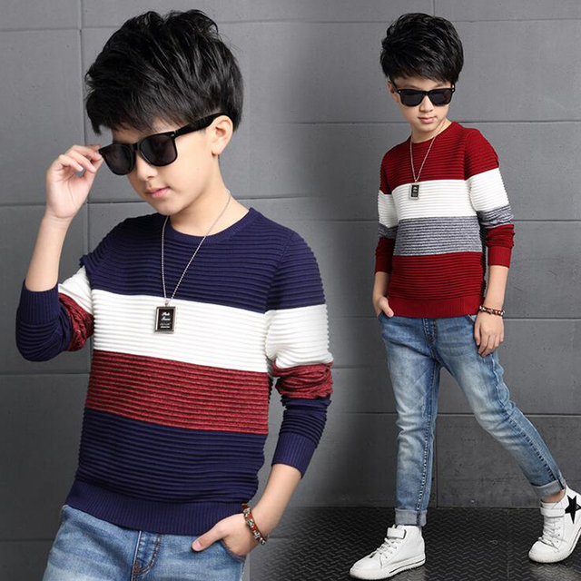 b5d01ce9e Kids Sweater Boys Sweaters tee Clothes O Neck long Sleeves stripes ...