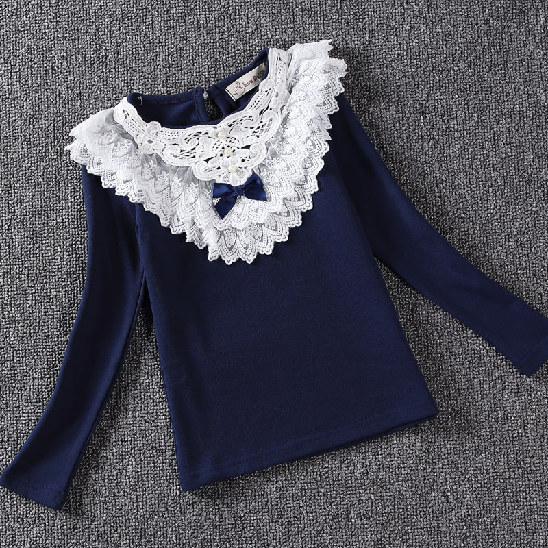 Spring 2016 Girls Blouses Shirts Fashion Warm Solid Long Sleeve Flower Lace Blouses Children Girls Cotton Clothes
