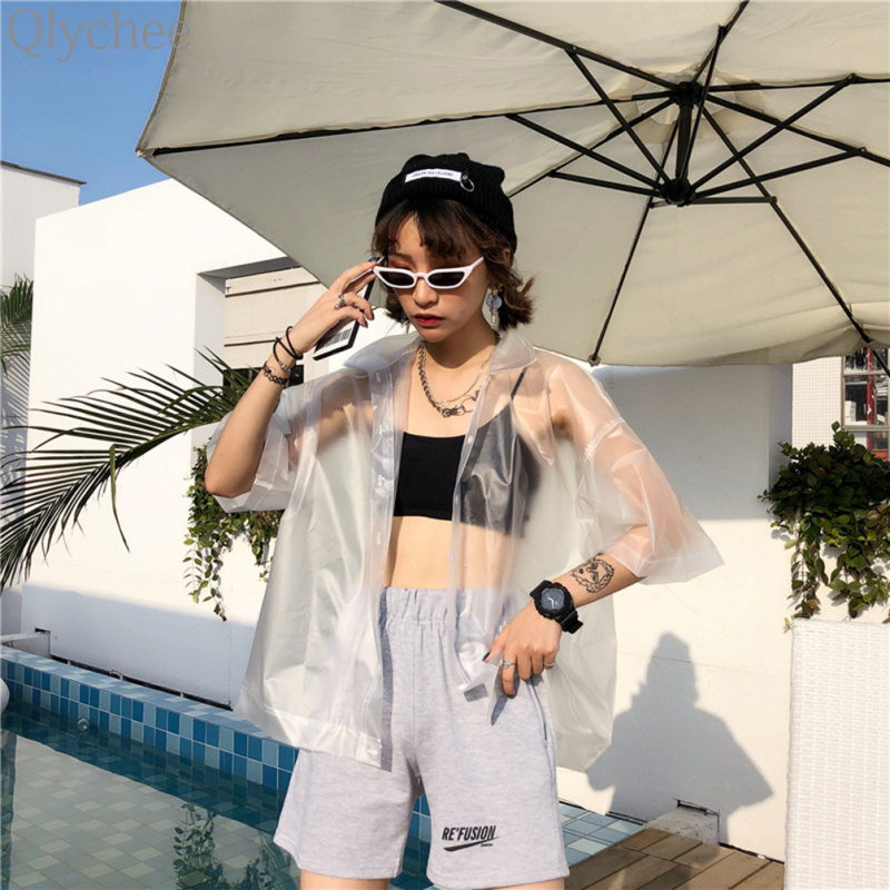 Qlychee Solid Transparent PVC Plastic Blouse Short Sleeve Button Turn Down Collar Tops Women Summer Loose Fashion