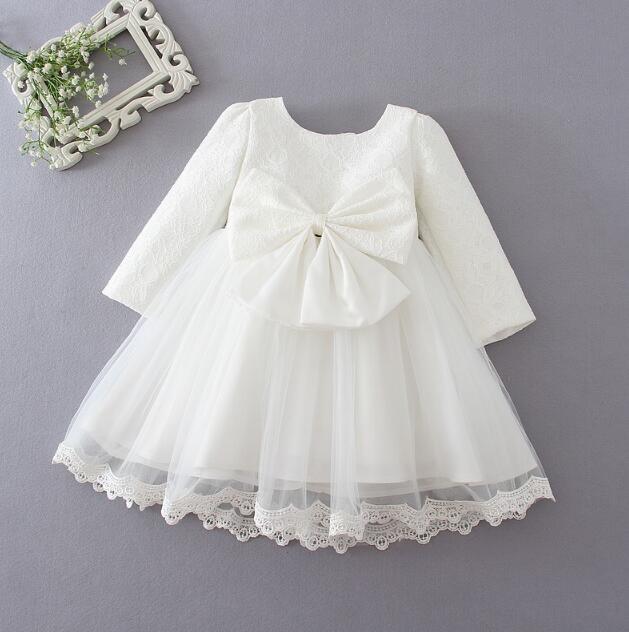 nouveau style ddab4 c4bc2 € 19.41 47% de réduction|Hiver nouveau né bébé fille robe mariage baptême  vestido bebe infantile robe princesse arc 1 2 ans anniversaire tutu robe ...