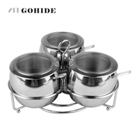 2016 New Kitchen Storage Bottle Stainless Steel Spice Jar Condiments Container With Cover 3pcs Set Seasoning